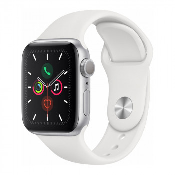 Умные часы Apple Watch Series 5 40mm GPS Silver Aluminum Case with White Sport Band (MWV62)